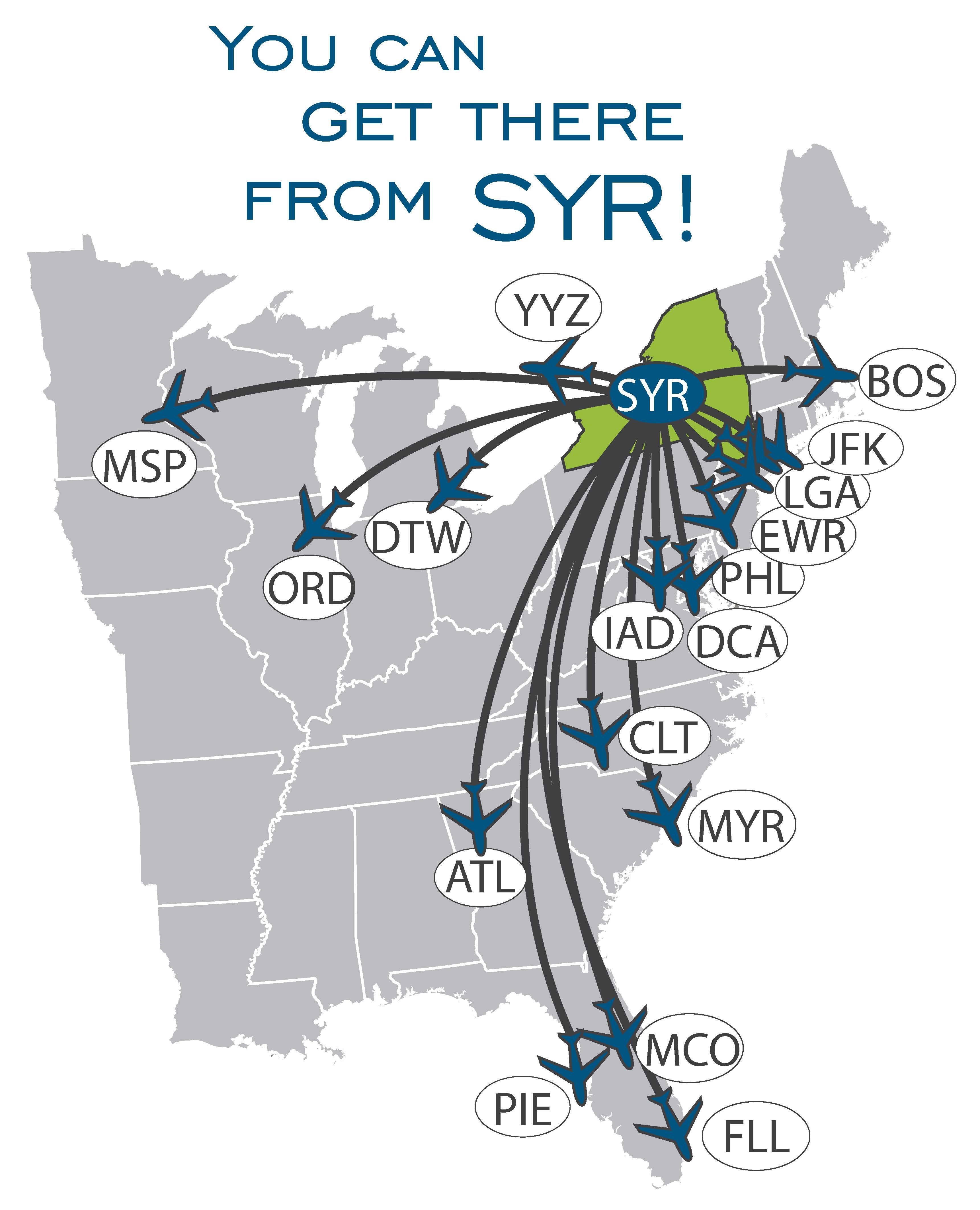 Syracuse Airport Map Destinations Map Blue   Syracuse Hancock International