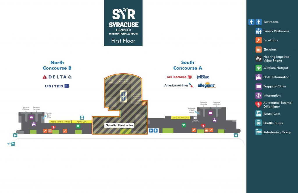 Syracuse Airport Car Rental: SYR Airport Map-construction-floor1