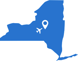 blue outline map of New York State